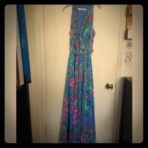 Chetta B Flower Long Dress